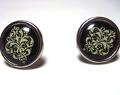 Damask Earrings - Circular Hypoallergenic Studs - Ivory and Black Damask Post Earrings - French inspired post earrings