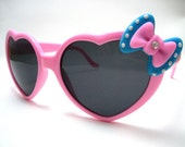 Pink Bow Sunglasses - Large baby pink heart shaped frame sunglasses with pink and blue bow and rhinestones - Kawaii Lolita Sunglasses
