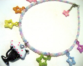 Rainbow Icecream Necklace - Glittery black milkshake charm with rhinestone heart and rainbow star charms - Kawaii Kandi Raver Fairy Kei