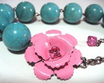 Asymmetrical Rose Necklace - Beautiful metal pink rose flower with rhinestone center and chunky turquoise beads - Shabby chic