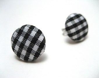 Black Gingham Studs - Black and white checker plaid fabric on hypoallergenic post earrings studs modern rockabilly
