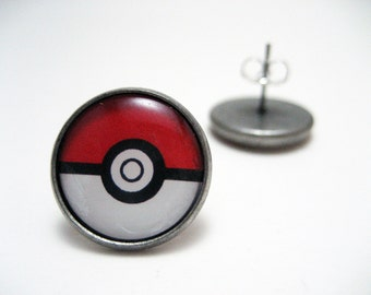 Pokemon Pokeball Studs - Red and white pokemaster pokeball post earrings LARGE - Geekery Geek Chic Gamer
