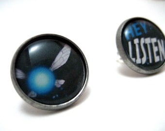 Zelda Navi Studs - Legend of Zelda fairy post earrings - HEY LISTEN - LARGE 14mm - Nintendo Geek Chic Gamer
