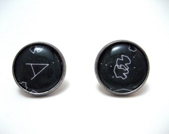 Asteroids Arcade Studs - Retro gamer black and white post earrings - LARGE 14mm - Geek Chic Gamer
