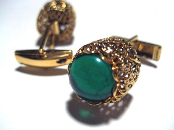 VINTAGE FIND - La Mode Cufflinks in Teal and Gold with Box