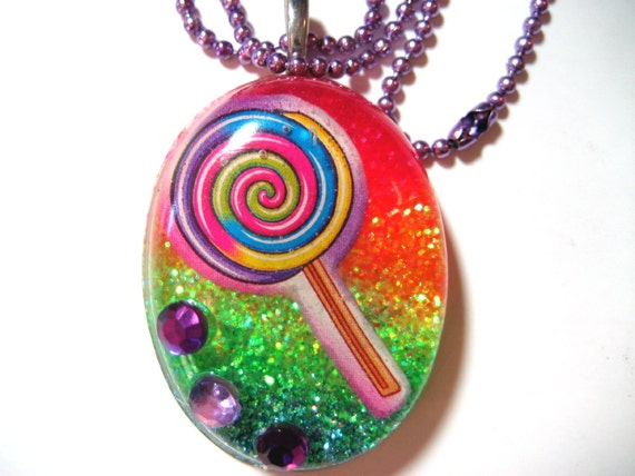 Rainbow Lollipop Necklace - Super bright rainbow glitter resin pendant with rhinestone and purple chain - Kandi Raver Kawaii - CLEARANCE