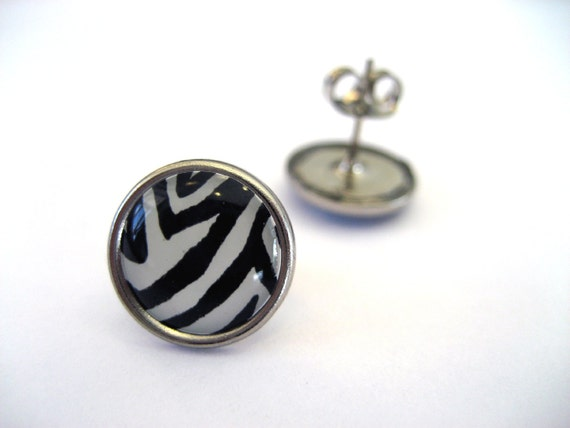 Zebra Studs - Black and White circular animal print post earrings