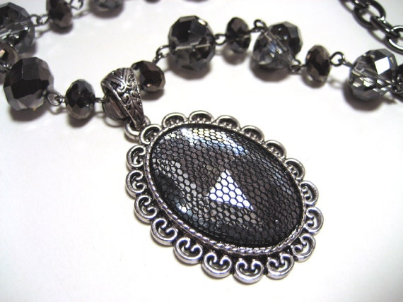 GOTHIC VICTORIAN Cameo Necklace - Goth Black FISHNET over clear rhinestone cameo with faceted smoke colored glass beads and gunmetal chain