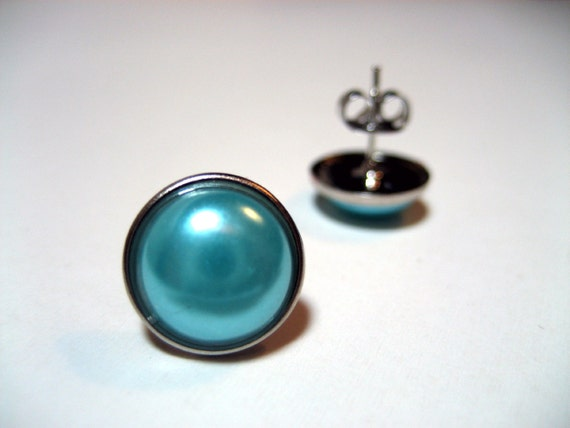 Aqua Pearl Studs - Metal post earrings with turquoise teal faux pearl