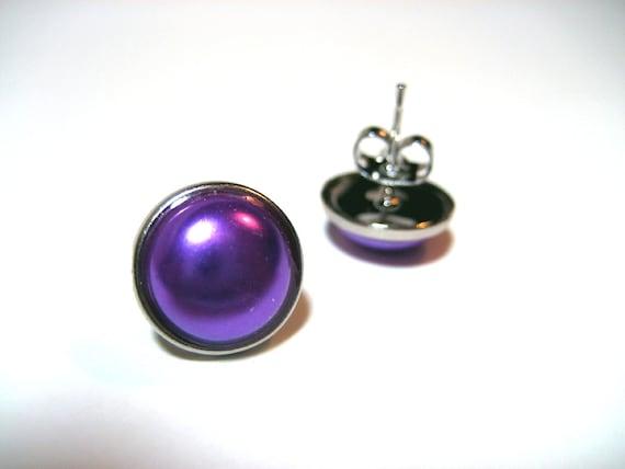Purple Pearl Studs - Hypoallergenic metal post earrings with super bright purple faux pearl