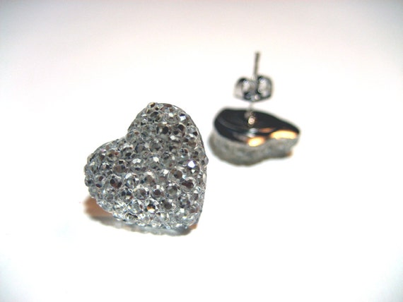 Ice Heart Earrings - Crystal clear frozen heart crystallized hypoallergenic studs - Super Sparkly