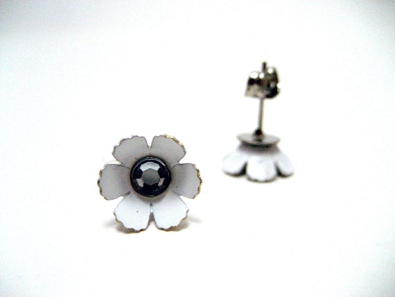 Rhinestone Flower Studs - White cherry blossoms flower earrings with clear rhinestones - Sakura