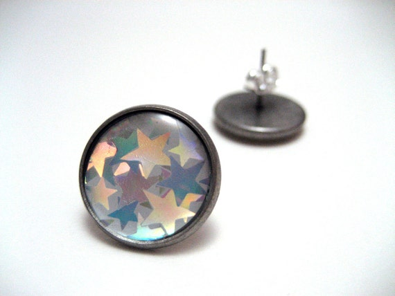 Holographic Star Studs - Super shiny iridescent metallic silver stars post earrings