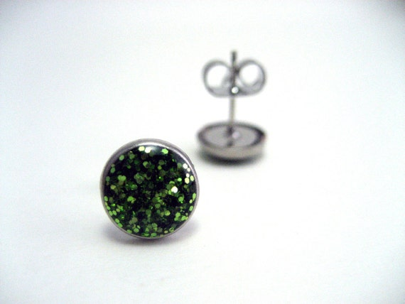 SMALL Green Glitter Studs - Super sparkly grass green glitter filled metal post earrings