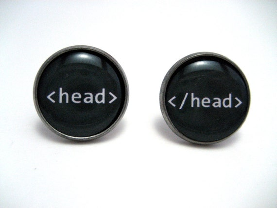 Head tag HTML Studs - Web designer black and white text head tag post earrings - LARGE 14mm - Geekery Geek Chic Techie Computer Programmer