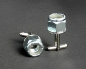 Metal Cuff Links With Locking Nuts - Very Different - NEW ITEM