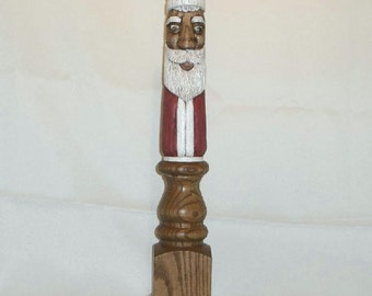 Hand Carved Santa In Oak Table Leg - 18 Inches Tall - One Of A Kind