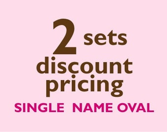 Single Name OVAL Vinyl Labels - 2 sets of 30 qty - Waterproof for kids