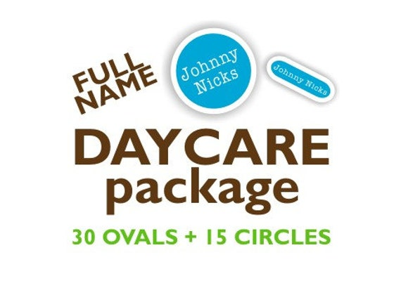 Full Name DAYCARE Set Vinyl Labels - Ovals & Circles - Name Labels for Kids, Waterproof Labels for Daycare