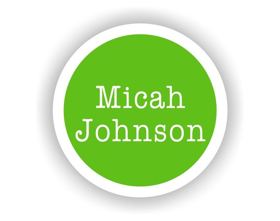 Full Name CIRCLE Vinyl Labels - 15 qty - Waterproof for kids - Name Labels for Kids, Waterproof Labels for Daycare