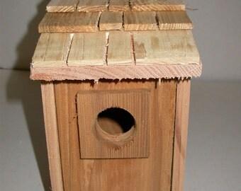 2- Bluebird bird houses bird nest with cedar shake roof