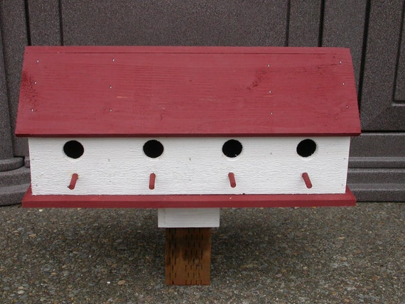 Birdhouse- large 4 compartments white and red Cedar Country barn bird house free shipping