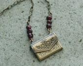 Little Love Letter Necklace - Garnet Red Stones