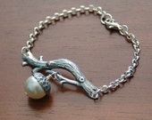 Acorn Branch Bracelet - Large Swarovski Pearl, Fall Fashion, Neutral Colors, Silver Plate, Woodland