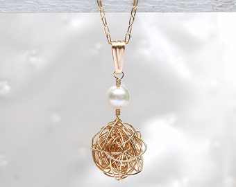 14ct Gold Filled Bird's Nest And Pearl Necklace