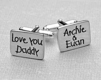 Handmade Personalised Silver Cufflinks -  - Father's Day Cufflinks - Personalised Father's Day Gift - Sterling Silver Dad Cufflinks