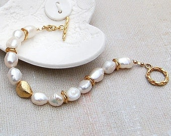 Gold Vermeil and White Baroque Pearl Bracelet