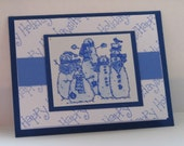 Handmade Snowman Card with Happy Holidays in blues