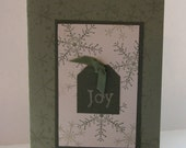 Handmade Joy card with snowflakes and religious message inside