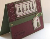 Handmade Holiday Greetings watercolor tree card in burgundy and artichoke