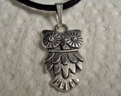 Tibetan Silver Owl Necklace with Satin Cord