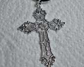 Tibetan Cross Necklace with Satin Cord