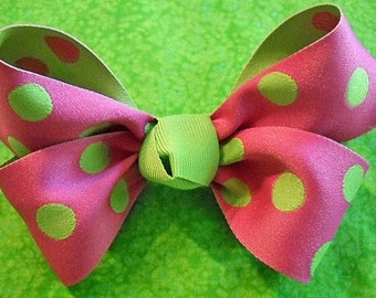 Hot Pink with Lime Green Polka Dot Hairbow