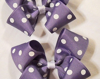 Pair of Lavender Polka Dot Boutique Hairbows