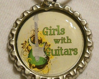 Girls With Guitars Bottle Cap Necklace