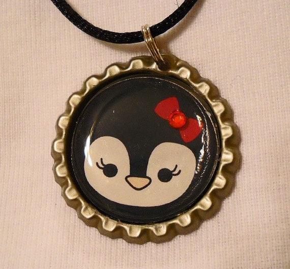Penquin Chalet Bottle Cap Necklace