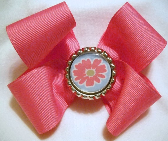 Pink Boutique Hairbow with Flower Bottlcap Center