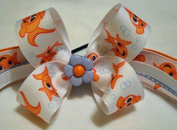 Goldfish Hairbow Ponytail Holder