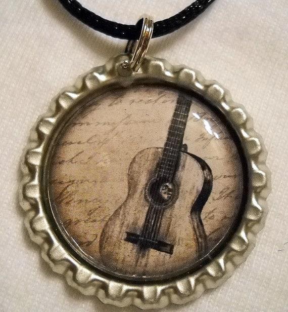 Guitar Bottle Cap Necklace