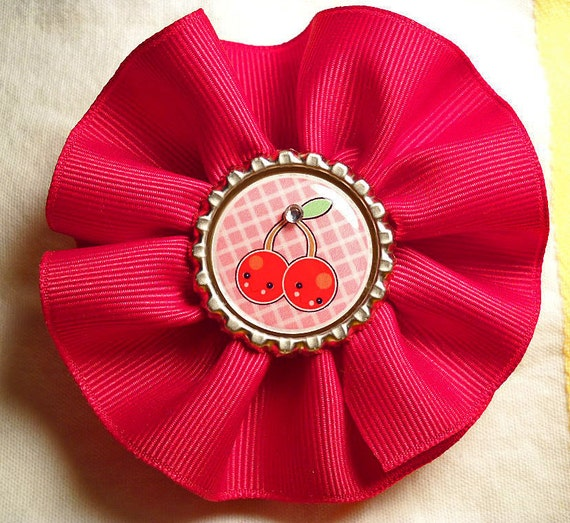 Red Swirl Ribbon Hair or Hat Clip with Cherries Bottle Cap Center