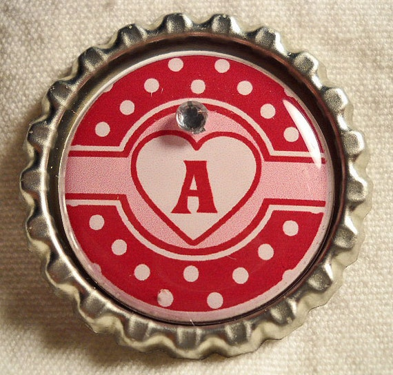 Red and White Polka Valentine Bottle Cap Necklace with Initial