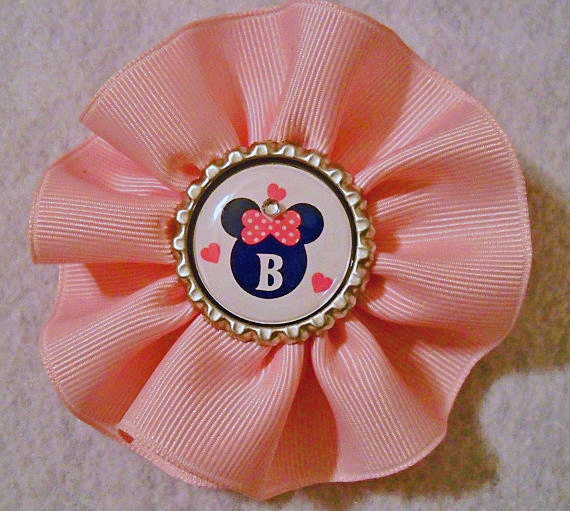 Pink Swirl Hat or Hair Clip with Mickey Initial in the Center