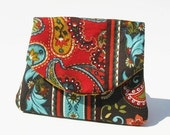 Three Pocket Coin Purse Flowers in Red, Turquoise, Brown, Teal SALE was 9.00