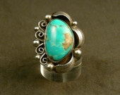 Vintage Sterling Silver Turquoise Ring Southwest Cowgirl
