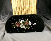 Vintage Victorian Beaded Sequined Floral Velvet Glasses Case