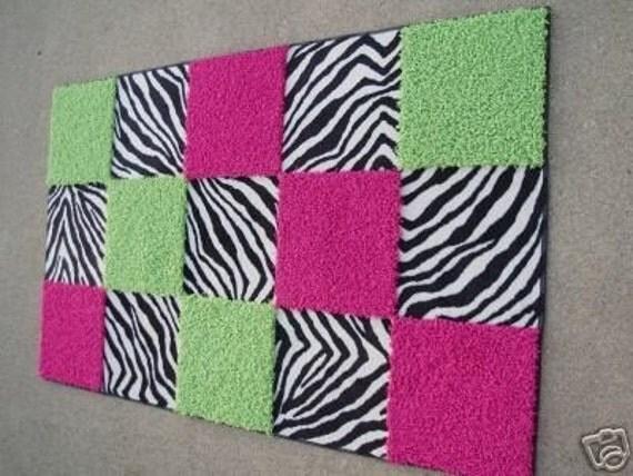 Custom 3x5 Zebra Hot Pink Lime Green Shag By